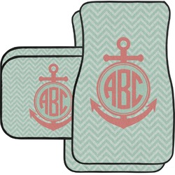 Chevron & Anchor Car Floor Mats Set - 2 Front & 2 Back (Personalized)