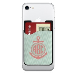 Chevron & Anchor Cell Phone Credit Card Holder (Personalized)
