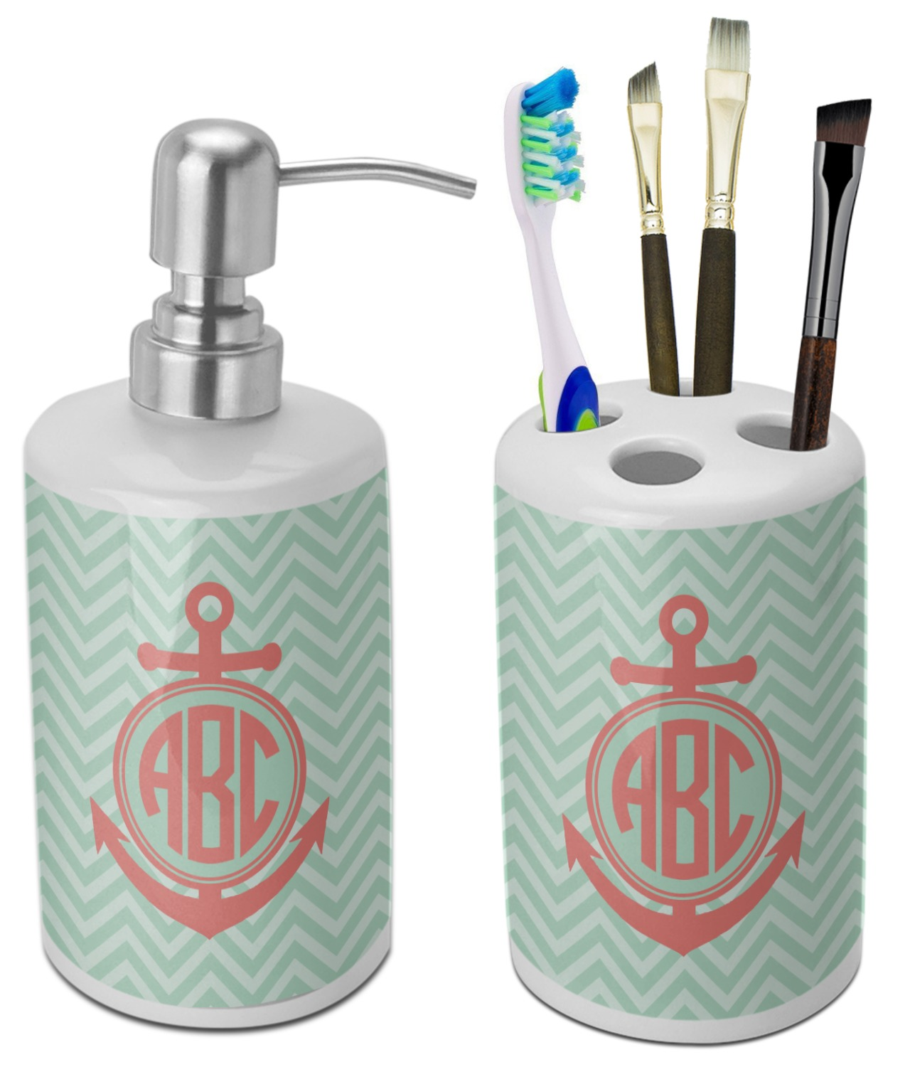 chevron anchor bathroom accessories set ceramic personalized