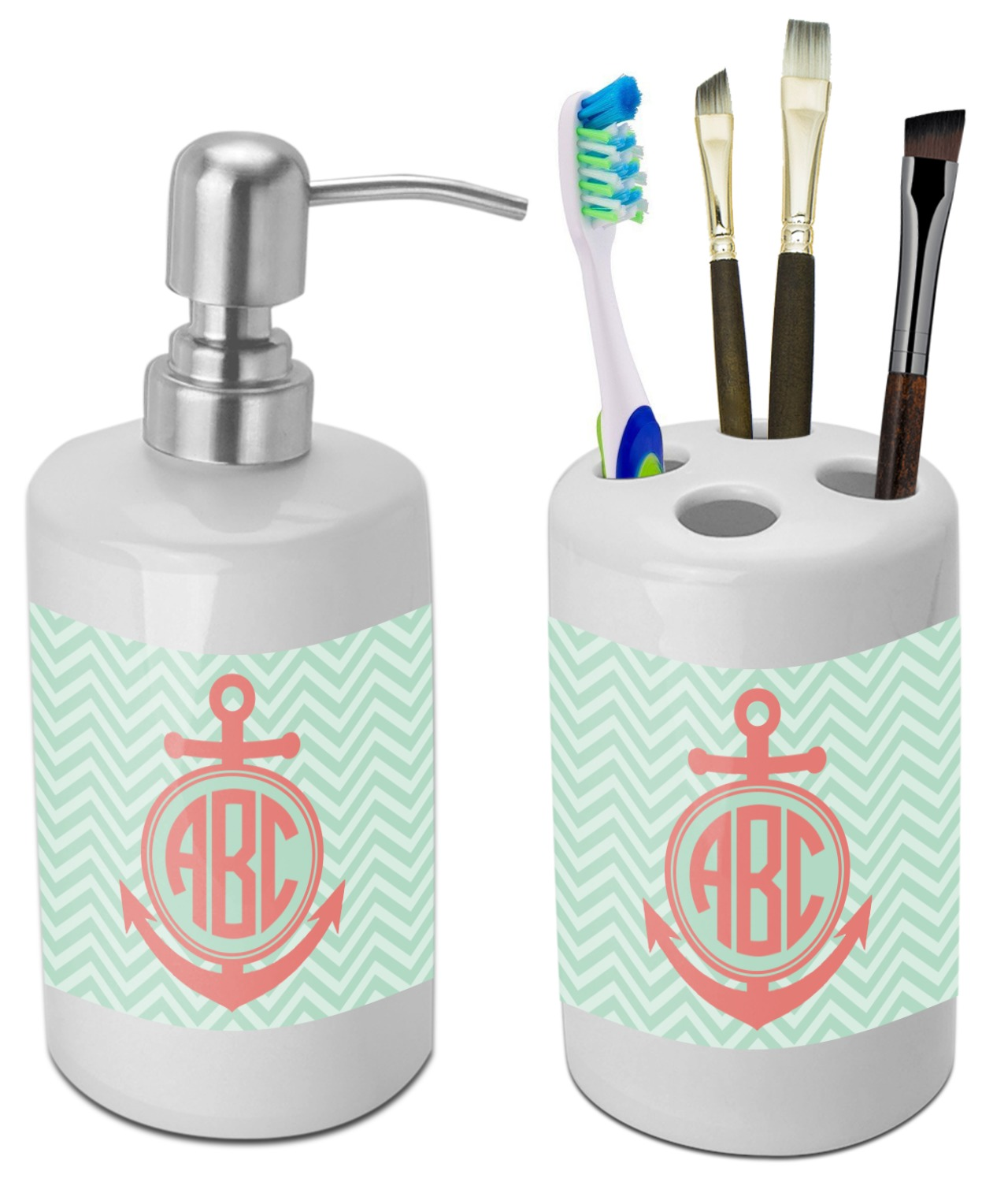 Superbe Chevron U0026 Anchor Bathroom Accessories Set (Ceramic) (Personalized)