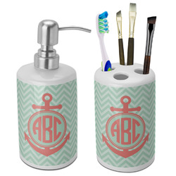 Chevron & Anchor Bathroom Accessories Set (Ceramic) (Personalized)