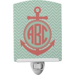 Chevron & Anchor Ceramic Night Light (Personalized)