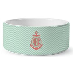 Chevron & Anchor Ceramic Pet Bowl (Personalized)