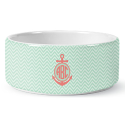 Chevron & Anchor Ceramic Pet Bowl (Personalized)