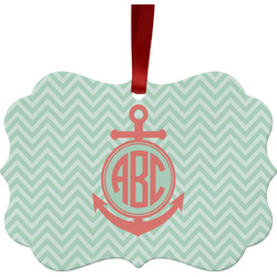 Chevron & Anchor Metal Frame Ornament - Double Sided w/ Monogram