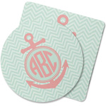 Chevron & Anchor Rubber Backed Coaster (Personalized)