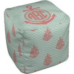 Chevron & Anchor Cube Pouf Ottoman (Personalized)