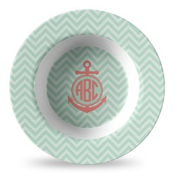 Chevron & Anchor Plastic Bowl - Microwave Safe - Composite Polymer (Personalized)