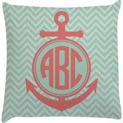 Chevron & Anchor Decorative Pillow Case (Personalized)