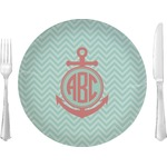 """Chevron & Anchor Glass Lunch / Dinner Plates 10"""" - Single or Set (Personalized)"""