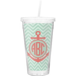 Chevron & Anchor Double Wall Tumbler with Straw (Personalized)