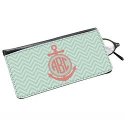 Chevron & Anchor Genuine Leather Eyeglass Case (Personalized)