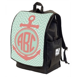 Chevron & Anchor Backpack w/ Front Flap  (Personalized)
