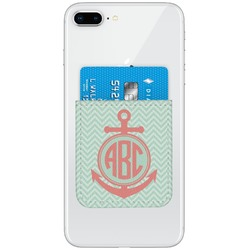 Chevron & Anchor Genuine Leather Adhesive Phone Wallet (Personalized)