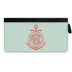 Chevron & Anchor Genuine Leather Ladies Zippered Wallet (Personalized)