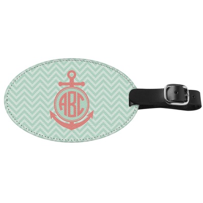 Chevron & Anchor Genuine Leather Oval Luggage Tag (Personalized)
