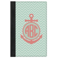 Chevron & Anchor Genuine Leather Passport Cover (Personalized)