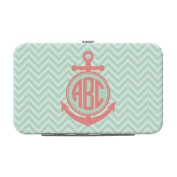 Chevron & Anchor Genuine Leather Small Framed Wallet (Personalized)