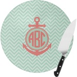 Chevron & Anchor Round Glass Cutting Board (Personalized)