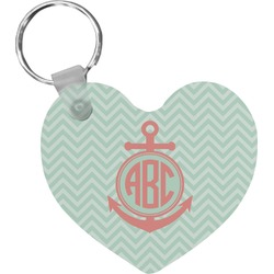 Chevron & Anchor Heart Keychain (Personalized)