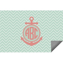 Chevron & Anchor Indoor / Outdoor Rug - 8'x10' (Personalized)