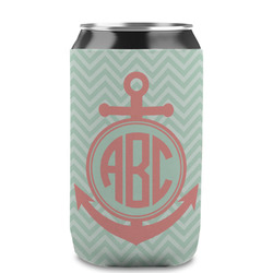 Chevron & Anchor Can Sleeve (12 oz) (Personalized)