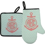 Chevron & Anchor Oven Mitt & Pot Holder (Personalized)