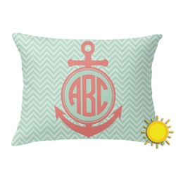 Chevron & Anchor Outdoor Throw Pillow (Rectangular) (Personalized)