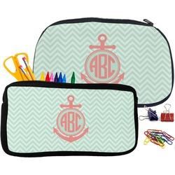 Chevron & Anchor Pencil / School Supplies Bag (Personalized)