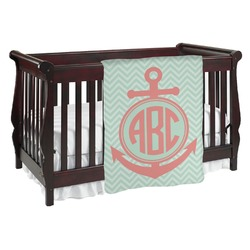 Chevron & Anchor Baby Blanket (Personalized)