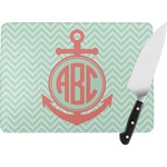 Chevron & Anchor Rectangular Glass Cutting Board (Personalized)