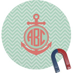 Chevron & Anchor Round Magnet (Personalized)