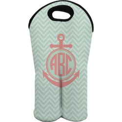 Chevron & Anchor Wine Tote Bag (2 Bottles) (Personalized)