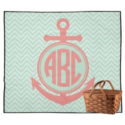 Chevron & Anchor Outdoor Picnic Blanket (Personalized)