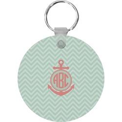 Chevron & Anchor Round Keychain (Personalized)