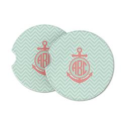 Chevron & Anchor Sandstone Car Coasters (Personalized)