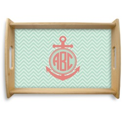 Chevron & Anchor Natural Wooden Tray (Personalized)