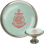 Chevron & Anchor Cabinet Knob (Silver) (Personalized)