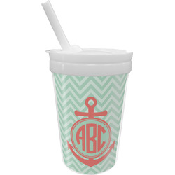 Chevron & Anchor Sippy Cup with Straw (Personalized)