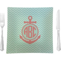"Chevron & Anchor Glass Square Lunch / Dinner Plate 9.5"" - Single or Set of 4 (Personalized)"