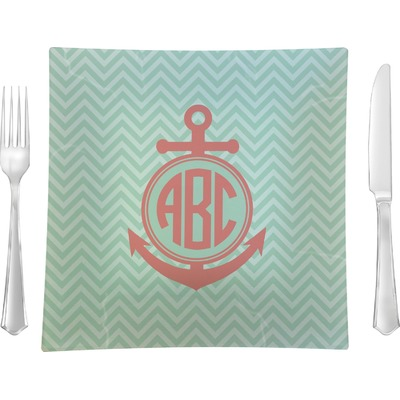 """Chevron & Anchor 9.5"""" Glass Square Lunch / Dinner Plate- Single or Set of 4 (Personalized)"""