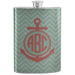 Chevron & Anchor Stainless Steel Flask (Personalized)