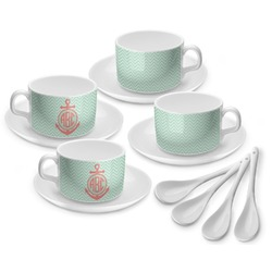 Chevron & Anchor Tea Cup - Set of 4 (Personalized)