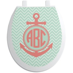 Chevron & Anchor Toilet Seat Decal (Personalized)