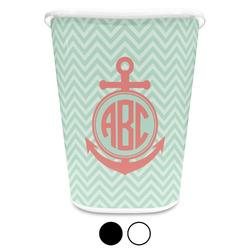 Chevron & Anchor Waste Basket (Personalized)