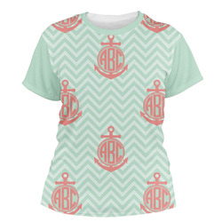 Chevron & Anchor Women's Crew T-Shirt (Personalized)