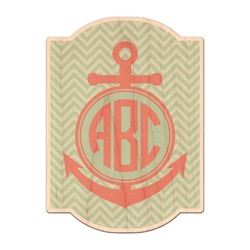 Chevron & Anchor Genuine Wood Sticker (Personalized)