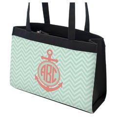 Chevron & Anchor Zippered Everyday Tote (Personalized)