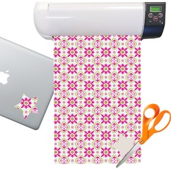 Pink & Green Suzani Floral Sticker Vinyl Sheet (Permanent)