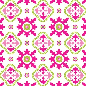 Pink & Green Suzani Floral